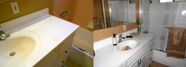 bathroom before and after photo