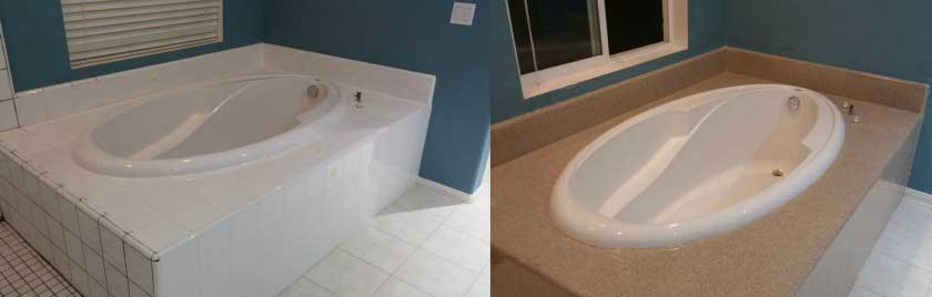 Bathtub Resurfaced With Custom Granite Finish