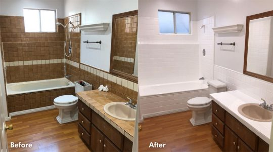 before and after tile refinishing