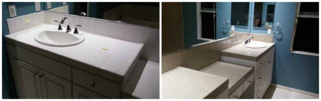 vanity sink before and after refinishing photo